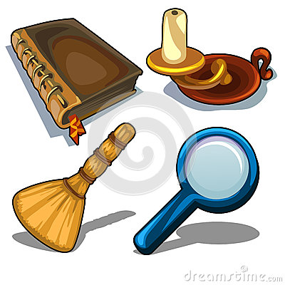 Free Candlestick, Book, Magnifying Glass And Droom Stock Images - 87491514
