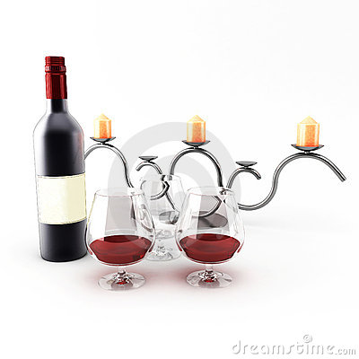 Candlestick with wine bottle Editorial Stock Photo