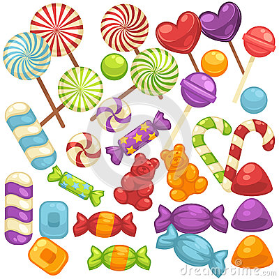 Free Candy And Caramel Sweets Vector Isolated Flat Icons Set Stock Images - 89862644