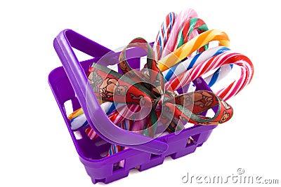 Candy-cane basket