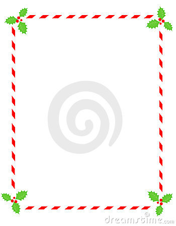 Candy cane border with holly