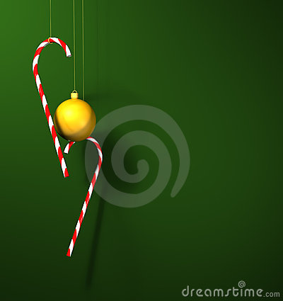 Candy canes and a bauble