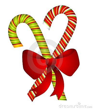 Candy Canes and Bow Isolated