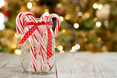 Candy canes in jar