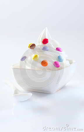 Candy covered soft-serve icecream