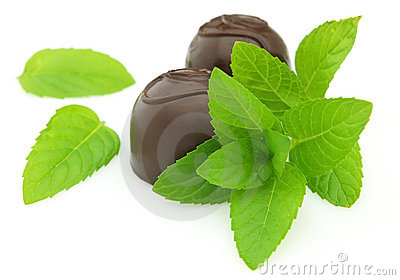 Candy with fresh mint