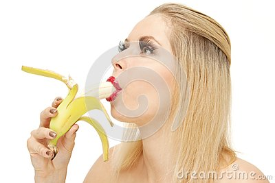 Candy girl sucking a banana