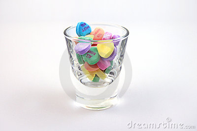 Candy hearts in a glass