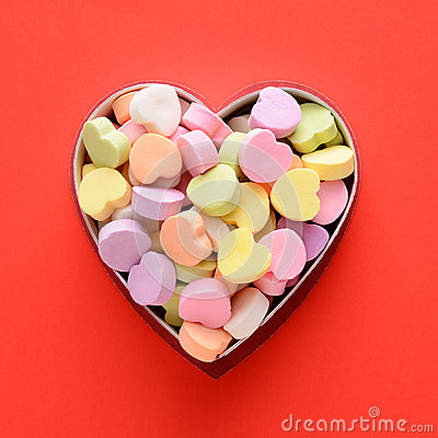 Free Candy Hearts In Box Stock Images - 48293974