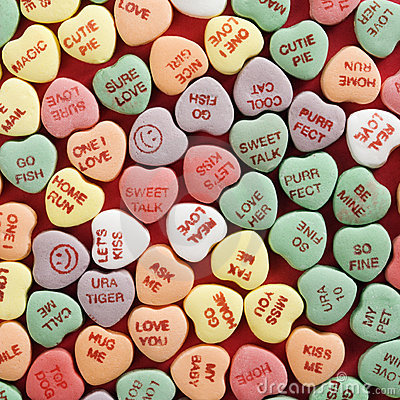 Free Candy Hearts On Red. Royalty Free Stock Photo - 2426235