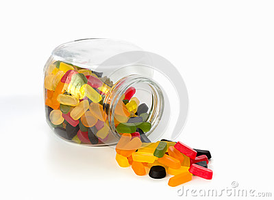Candy jar with wine gums