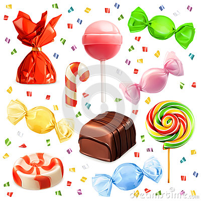 Free Candy Set, Vector Icons Royalty Free Stock Images - 57245579