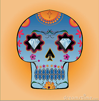 Candy skull with diamond eyes and floral patterns