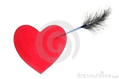 Candy valentines heart with arrow and feather