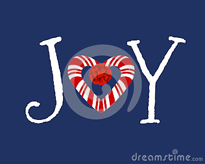 Candycane heart in word Joy
