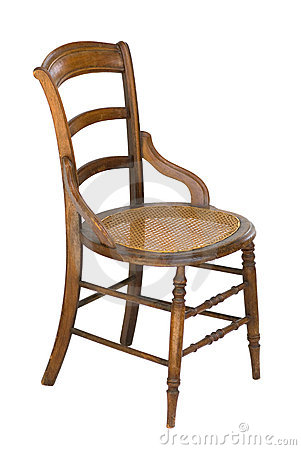 Cane seat antique wood vintage chair - isolated