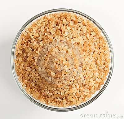 Free Cane Sugar In A Glass Bowl Stock Photo - 13122090