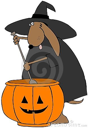 Canine Witch Stirring A Pot