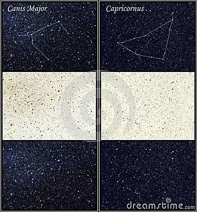 Canis Majors- und Capricornuskonstellationen