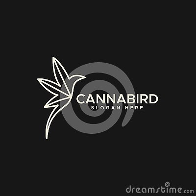 Cannabis bird monoline logo vector design illustration Cartoon Illustration
