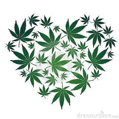 Cannabis leaf heart