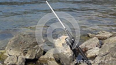 Canne à pêche sur le bord de mer rocheux banque de vidéos
