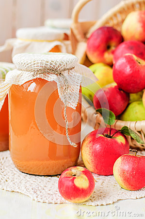 Free Canned Apple Juice And Apples In Basket, Copy Space For Your Tex Royalty Free Stock Photography - 34704877