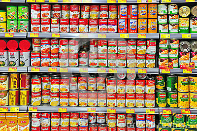 Canned food at hong kong supermarket Editorial Photo