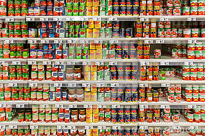 Canned Food In Supermarket Editorial Stock Photo