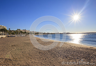 Cannes coastline and promenade, Cannes Editorial Stock Photo