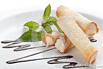 Cannoli. Sicilian pastry desserts.