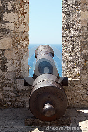 Cannon in a medieval castle
