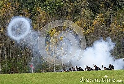 Cannon Shot Blast, Civil War Reenactment Editorial Stock Photo