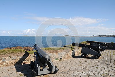 Cannons at Portelet harbour, Guernsey