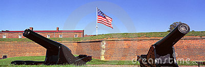 Cannons and wall at Fort McHenry National Monument