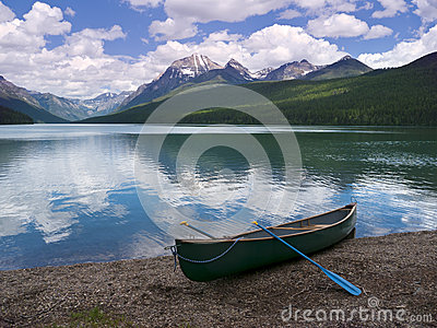 Canoe at Bowman Lake