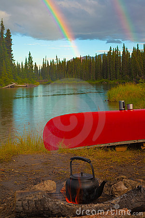 Canoe, Campfire and Rainbow