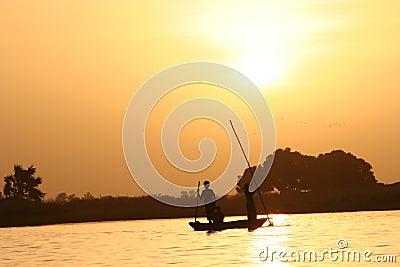 Canoe crossing a river