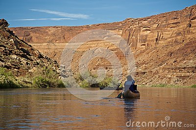 Canoe on a desert river