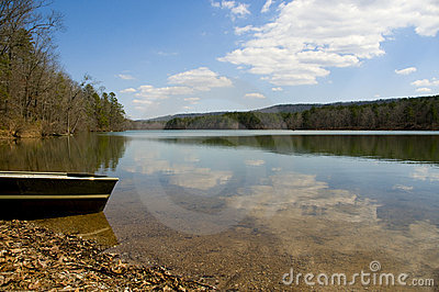 Canoe at edge of peaceful lake