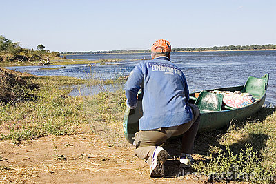 Canoe expedition on the Zambezi river Editorial Stock Image