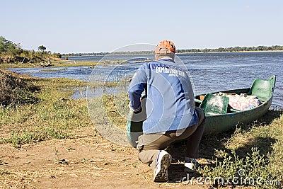Canoe expedition on the Zambezi river Editorial Stock Image