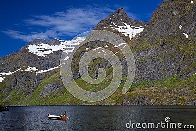 Canoe in fjord