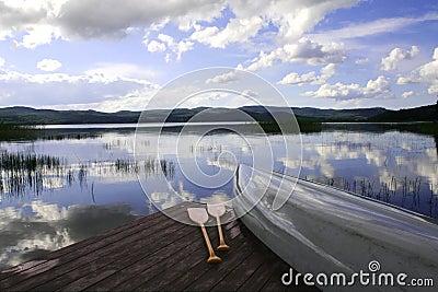 Canoe at a lake