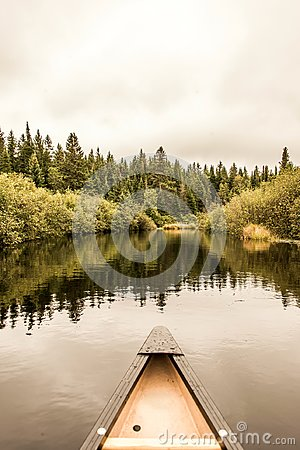 Free Canoe Nose Calm Peaceful Quite Lake Algonquin Park, Ontario Canada Tree Reflection Shoreline Pine Tree Forest Shore Line Stock Photos - 103566003