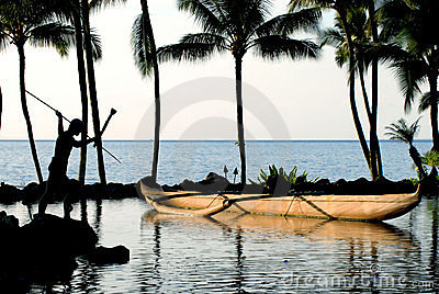 Canoe & Palm Trees at the Ocean