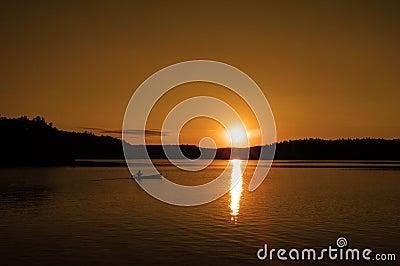 Canoe at sunset 2