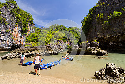 Canoe trip on Phang Nga National Park Editorial Stock Image