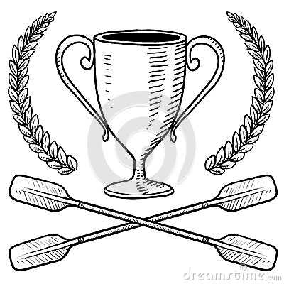 Canoeing or boating trophy sketch
