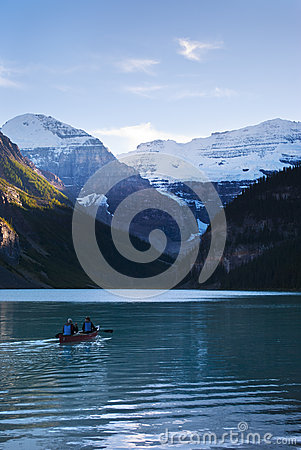 Canoeing in lake Louise Editorial Stock Photo